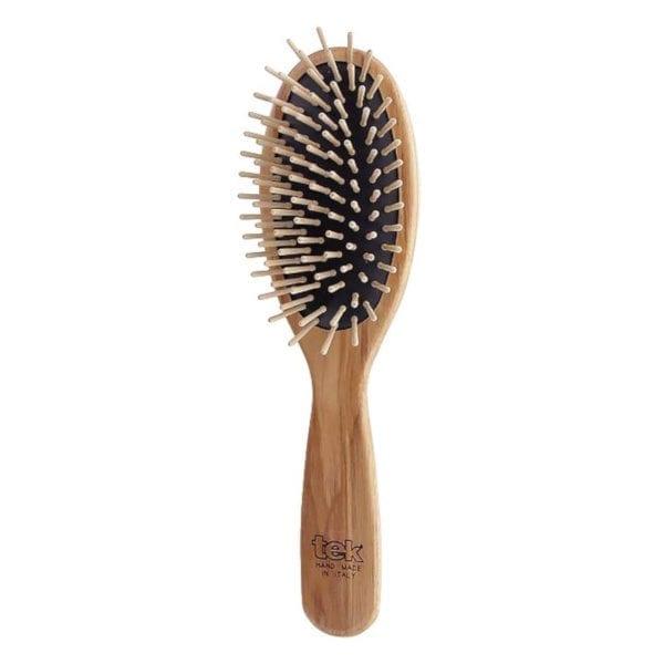 Cepillo para el pelo de madera oval grande tek