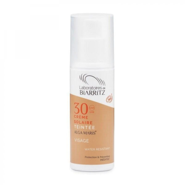 crema solar facial SPF30 color marfil