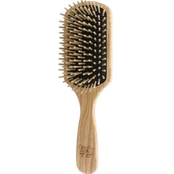 Cepillo para pelo rectangular grande de madera Tek